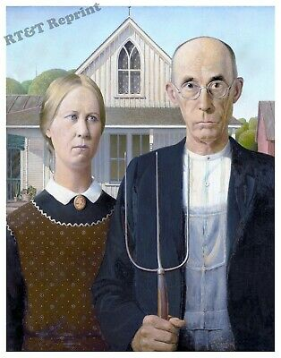 Wall Art Grant Wood's 1930 The American Gothic Painting Year  11x14