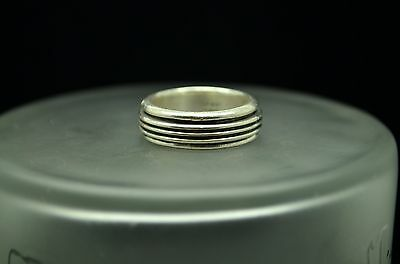 925 Sterling Silver Sz 8.5 Thick Triple Line Spinner Band Ring #X17885
