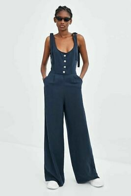 940664b0aa35 NWT ZARA STRIPED Jumpsuit With Cut-Out Detailn Ecru navy 7901 711 Xs ...