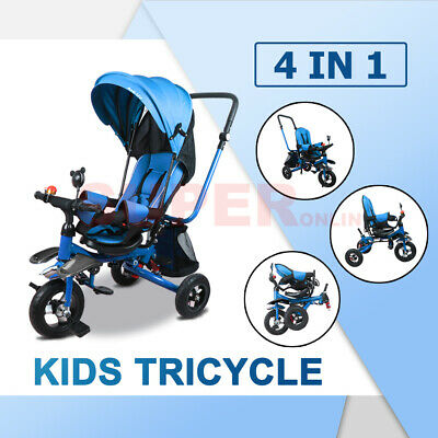 4 In 1 Toddler Pram Baby Ride On Toys Trike Handle Stroller Tricycle Bike Blue