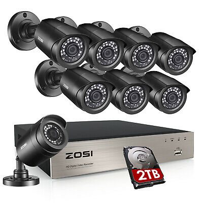 ZOSI HD 8CH 1080P DVR 720P Outdoor Home Surveillance Security Camera System 1TB