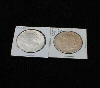 Two (2) Silver Liberty Peace Dollars $1 US Coin 1922 and 1923-s