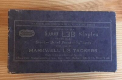 Vintage Markwell 4PC 5/16 L3B Insulation Staples Builders Tacker Advertising NIB