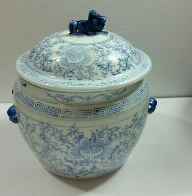 """Antique Chinese Blue & White  9"""" Ginger Jar w[th Foo Dog On Lid No Mark"""