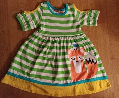 Clothing, Shoes & Accessories Nice Jelly The Pug Green Stripe Cold Shoulder Fox Dress Size 2t