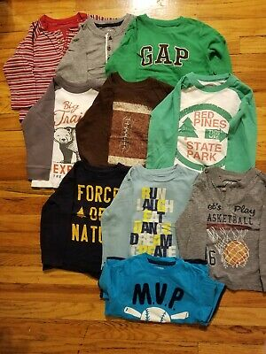 Lot of 10 Toddler Boys 3T Shirts Long Short Sleeve Graphic Tees GAP Carters More