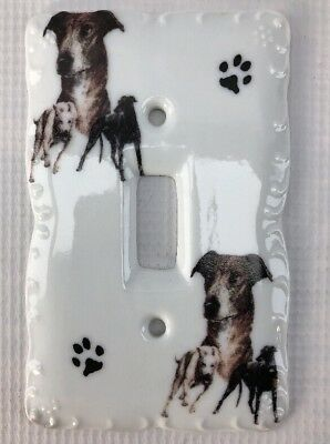 Vintage Greyhound Dog Porcelain Single Light Wall Switch Plate Cover Made in USA