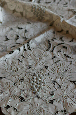 """Vintage Madeira Embroidered Cut Work Lace Tablecloth 88"""" by 64"""" Taupe ,Excellent"""