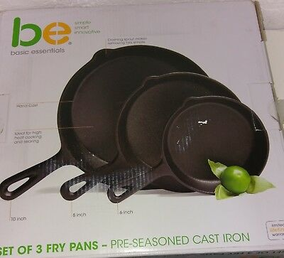 Pre Seasoned Cast Iron Skillet (Set of 3 Pcs) 6 Inches,8 Inches and 10 Inches