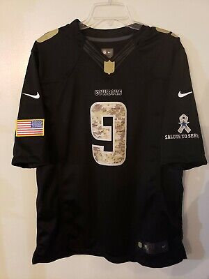 59b5dc0cd74 Rare Nike NFL Dallas Cowboys Tony Romo 9 Salute To Service Black Jersey  Mens L