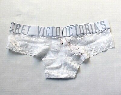 acf8c1e05716 Victoria's Secret The Lacie Lace Sheer Wide Logo Band Cheeky Panty XS White