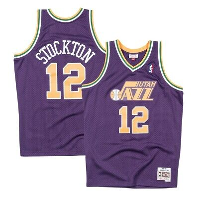 8025b29604a John Stockton NBA Utah Jazz Men s Mitchell   Ness Purple 1991-92 Swingman  Jersey