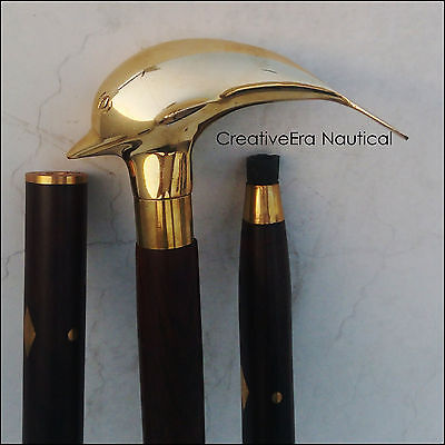 Solid Brass Brown wooden walking cane dolphin handle walking stick nautical