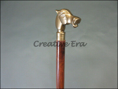 Antique Style Horse VINTAGE Victorian Brass Head Handle Wooden Walking Cane Gift