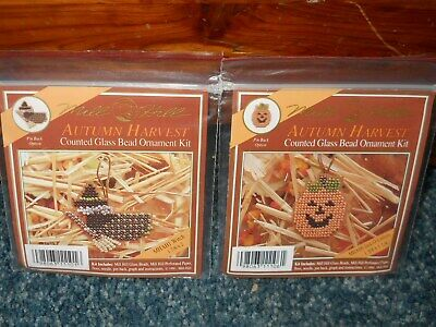 Lot of 2 Mill Hill Autumn Harvest Counted Glass Bead Kits ~ Pumpkin & Witch