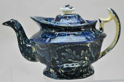 Antique Clews Dark Blue Staffordshire Dogs with Spots Teapot 1825
