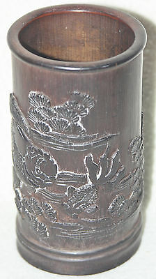Chinese Late Qing 1900-1915 Finely Carved Bamboo Fish Scene Brush Pot