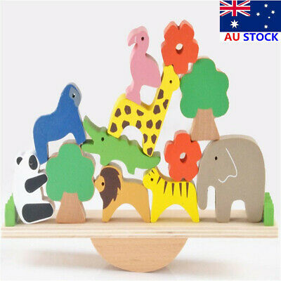Wooden Animal Seesaw Forest Stacking Balance Blocks Game Kids Educational Toys