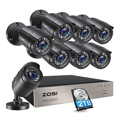 ZOSI 8CH 1080P HDMI DVR 720P Outdoor Surveillance Security Camera System 1TB 2TB