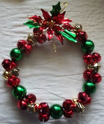 Dollhouse Miniature Green /& Red with Bell Christmas Wreath Decor 2.50 cm
