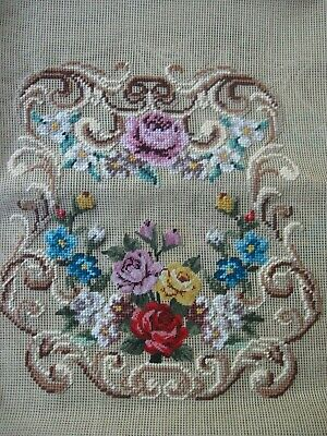2 worked PETIT POINT TAPESTRY CHAIR CUSHION Background to be completed FLOWERS