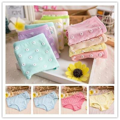 Girls Cotton Daisy Underwear Mid-Rise Underpants Candy Color Briefs Panties A