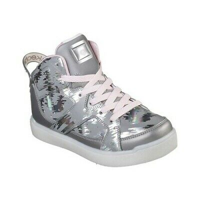556c70903f1a Skechers Girls  S Lights Energy Lights E-Pro Reflecti-Fab High Top Silver