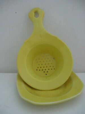 vintage 1930s EMPIRE WARE England MIMOSA yellow TEA STRAINER & UNDER BOWL