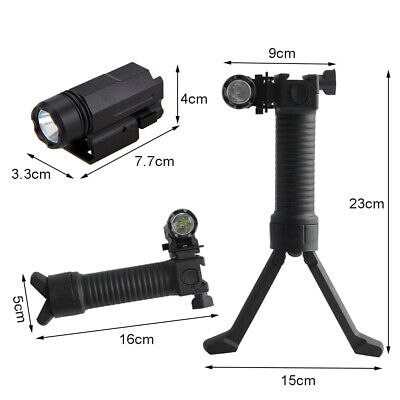 Bipod Vertical Hand Grip Airsoft Fit Picatinny+Tactical Mini 20mm LED Flashlight