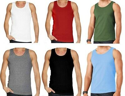 90c56e351dfda8 Mens Plain Vest Multi Pack Lot Basic Regular Fit Cotton Tank Top Athletic  soft