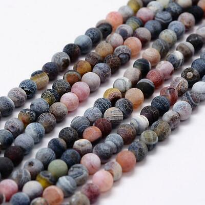45pc Frosted Natural Agate Gemstone Bead 8mm Round Dyed Heated Spacer Loose Bead