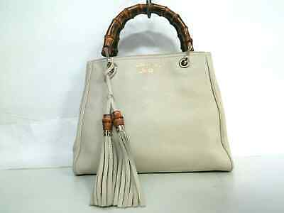 b0730209589 Auth GUCCI Bamboo Shopper Leather Tote 336032 Ivory Brown Leather Wood Tote  Bag