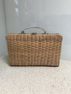 Vintage Wicker Cane Hand Bag Basket Woven Clutch