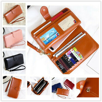 Women's Girl Leather Purse Pouch Credit Cards Holder Case Cover with Hand Strap