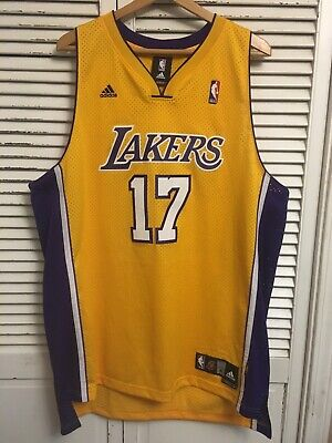 LA Lakers Andrew Bynum #17 Adidas Authentics Basketball Jersey Adult XL Length+2