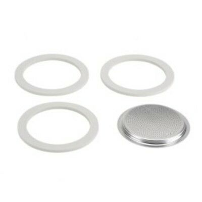 Bialetti 3 Gaskets + 1 Filter Plate for Brikka Coffee Maker 2 Cup