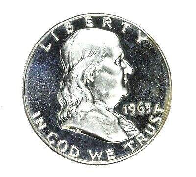 1963-P Franklin Half Dollar 50C Proof Uncirculated Silver Coin DEEP STRIKE #1176