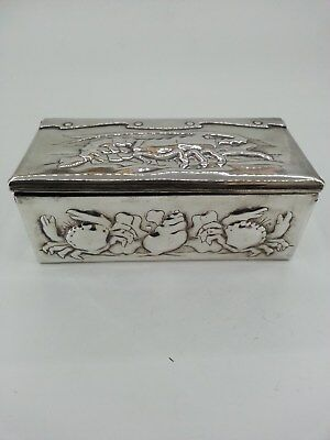 ANTIQUE ARTS & CRAFTS NEWLYN SILVER PLATED REPOUSSE BOX /TEA CADDY BRITISH 1890s