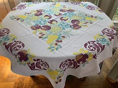 Vintage Tablecloth With Fruit In Aqua, Yellow, Eggplant Purple
