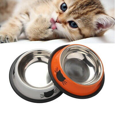 Cute Cat Claw Feeding Bowls Stainless Steel Pet Dog Cat Food Water Feeder AU
