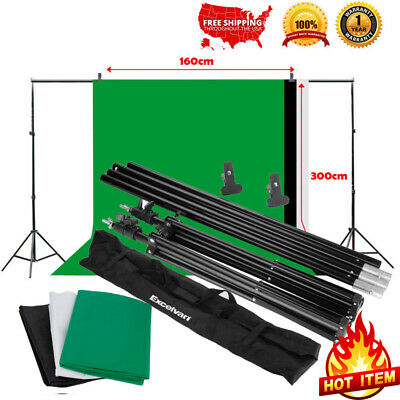 9x6 Ft Green Black White Photography Studio Background Screen Backdrop+Stand Kit