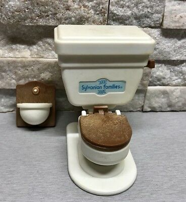 Vintage Sylvanian Families Bathroom Flushing Toilet Sound Ceramic Sink Rare HTF