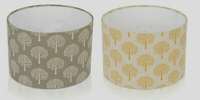 Mulberry Tree Grey cream / Linen  Ochre Yellow Lampshade , Table Lamp, Ceiling