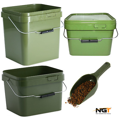 Carp Fishing Square Green Bait Buckets + Lid 5L , 10L , 17L / Ngt Baiting Spoon