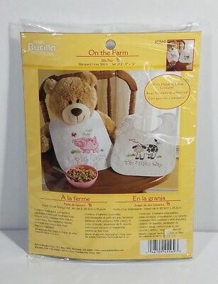 NIP Bucilla On the Farm 2 unisex baby bibs embroidery needlework craft set 45569