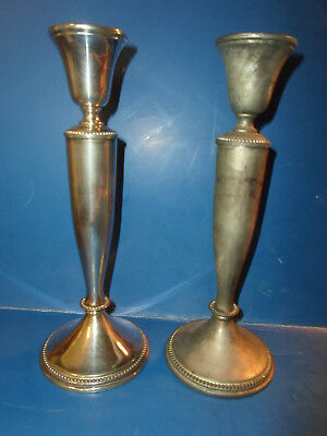 """Vintage/Ant.Set Silverplate? Candlestick Candle Holder w/Pearl Decor 9 1/4""""T OLD"""