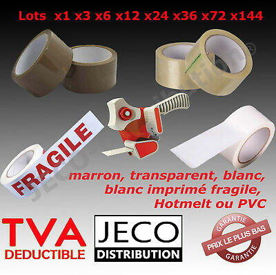 Lots Ruban Adhesif Emballage Rouleaux Havane Brun Marron Transparent Carton
