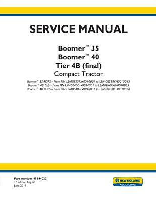 NEW HOLLAND BOOMER 30 ROPS Compact Tractor Service And Repair Manual