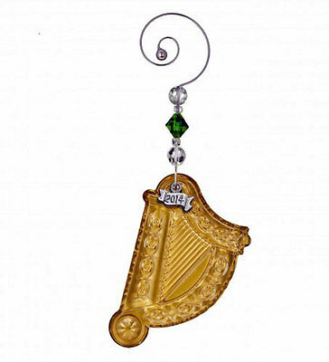 Waterford 2014 Annual GOLD HARP  crystal Ornament –  NEW / Boxed