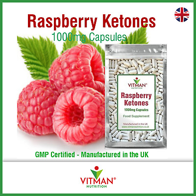 PURE RASPBERRY KETONES 1000mg Capsules - Rasberry Keytones High Strength Pills